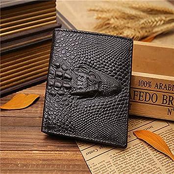 Cartera de Piel auténtica con diseño de cocodrilo para Hombre, Cartera con diseño de Pliegues: Amazon.es: Hogar
