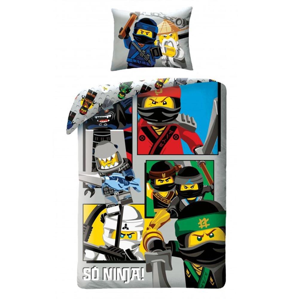 Lego Ninjago Parure de lit pour enfant 100% Coton - Housse de couette 140x200cm + Taie 70x90cm Halantex