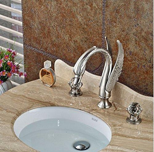 GOWE Luxury Bathroom Swan Style Basin Sink Faucet Widespread Bathroom Mixer Taps Brushed Nickel 3 Holes 3