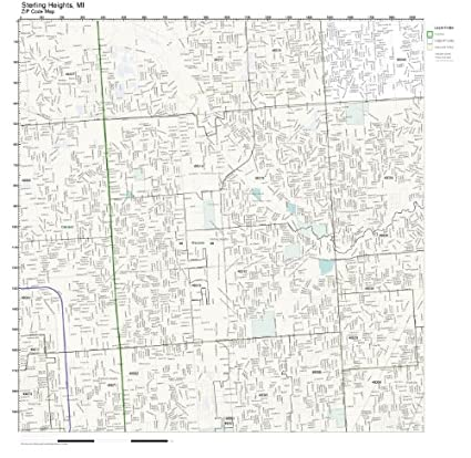 Sterling Heights Zip Code Map.Amazon Com Zip Code Wall Map Of Sterling Heights Mi Zip Code Map