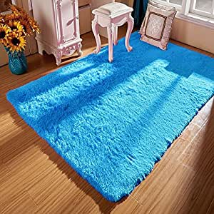 Ojia deluxe home decorative soft shag area rug for Living room rugs amazon