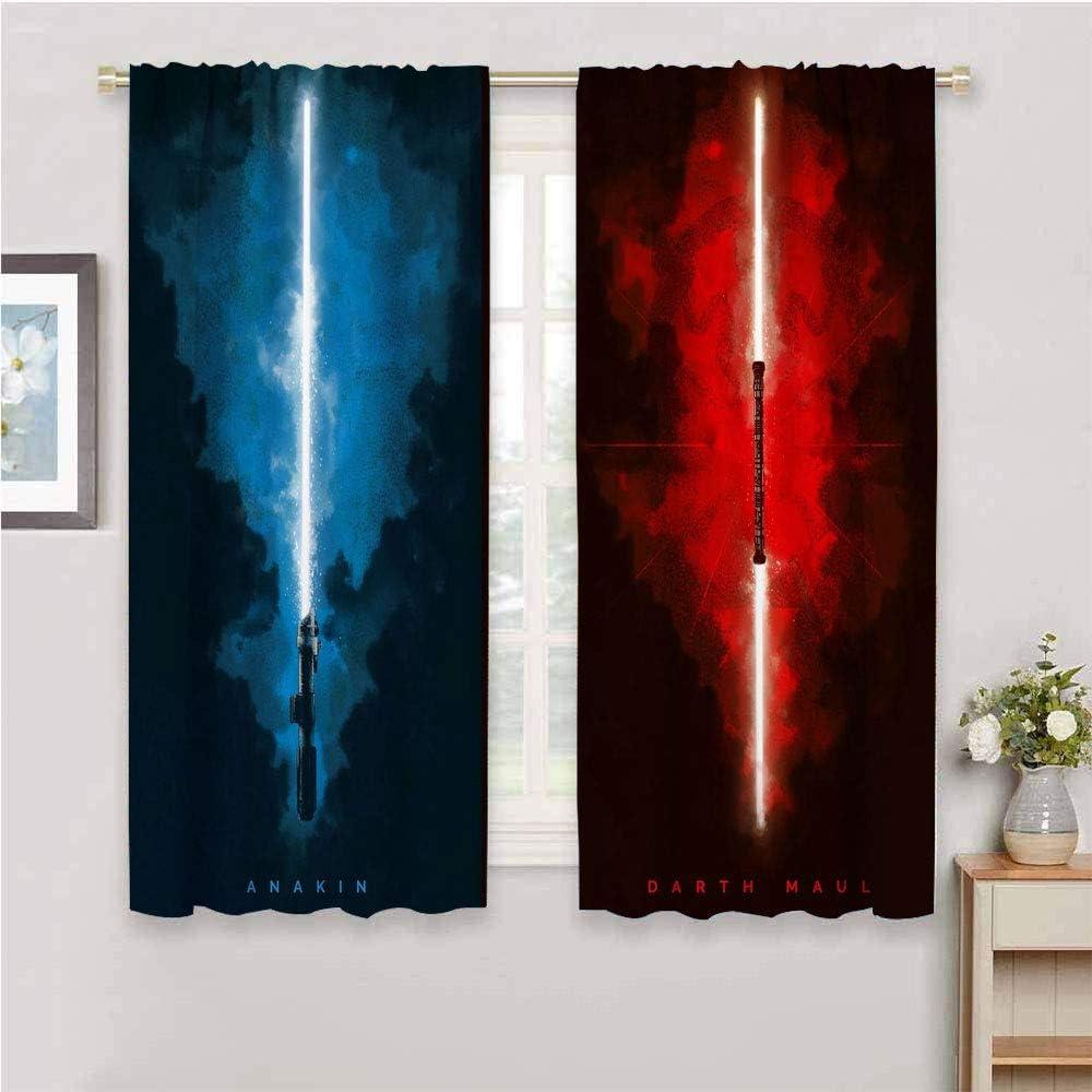 DIMICA Home Decor Sliding Door Curtains Star Wars Anakin,Darth Maul W108 x L84 Inch Print Home Decor Sliding Door Curtains Rod Pocket curtian