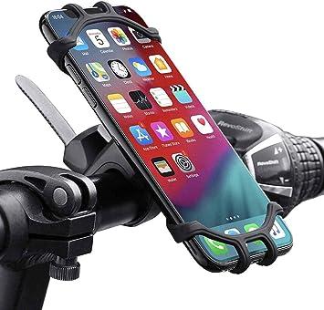 QueenDer Soporte Movil Bicicleta, Soporte Movil Moto 360° Rotación Anti Vibración Universal Ajustable Silicona Teléfonos Soporte Montaña Bici Compatible para iPhone Samsung Xiaomi Huawei (4,5