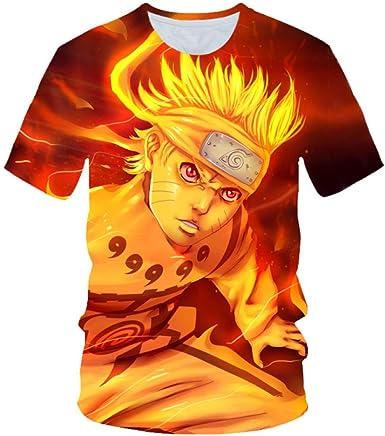 TSHIMEN Camisetas Hombre One Piece Naruto 2019 el más Nuevo Harajuku Naruto 3D impresión Fresca Camiseta Hombres/Mujeres Manga Corta Camiseta Summer Tops Tees Naranja: Amazon.es: Ropa y accesorios