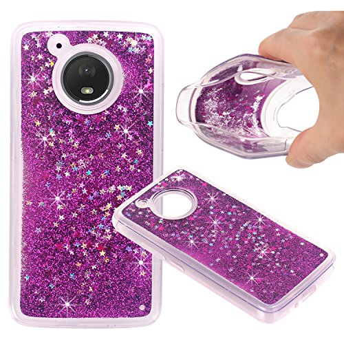 (Moto E4 (US Version) Case, NOKEA Soft TPU Flowing Liquid Floating Luxury Bling Glitter Sparkle Case Cover Fashion Design for Moto E4 (US Version) (Purple))