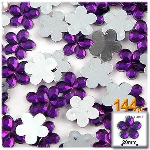 The Crafts Outlet 144-Piece Acrylic Aluminum Foil Flat Back Flower Rhinestones, 20mm, ()