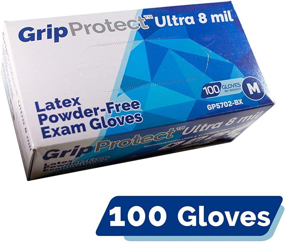 GripProtect Ultra 8 Mil Latex Exam Gloves, Disposable, Medical, Auto, BOX of 100