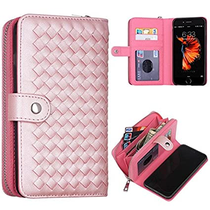 PASONOMI iPhone 8 Case, iPhone 7 Zipper Wallet Case, PU Leather Protective  Shell Detachable Folio Flip Holster Carrying Case with Strap and Card