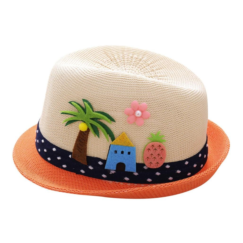 Amazon.com  FEITONG Summer Boys Girls Embroidered Coconut Trees Hats Jazz  Hat Breathable Show Hat  Baby 8eab0f8e1d4
