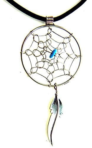 By Navajo Artist Lorenze Arviso Large Sterling-silver Navajo Dream Catcher turquoise