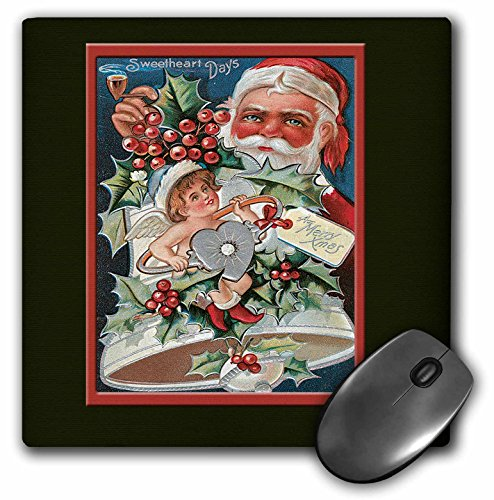3dRose BLN Vintage Christmas Designs - Sweetheart Days Santa Smoking a Pipe with a Bell and an Angel Holly Leaves and Berries - MousePad ()