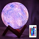 HYODREAM 3D Galaxy Lamp Starry Moon Night Light with Touch and Remote Control 16 Colors as Cool Lamp Gift for Boys or…