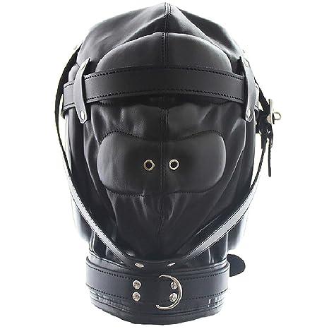 Leather Bondage Gimp Mask Head Hood - Black Sealed Soft Leather Full Face  Mask Nose Holes