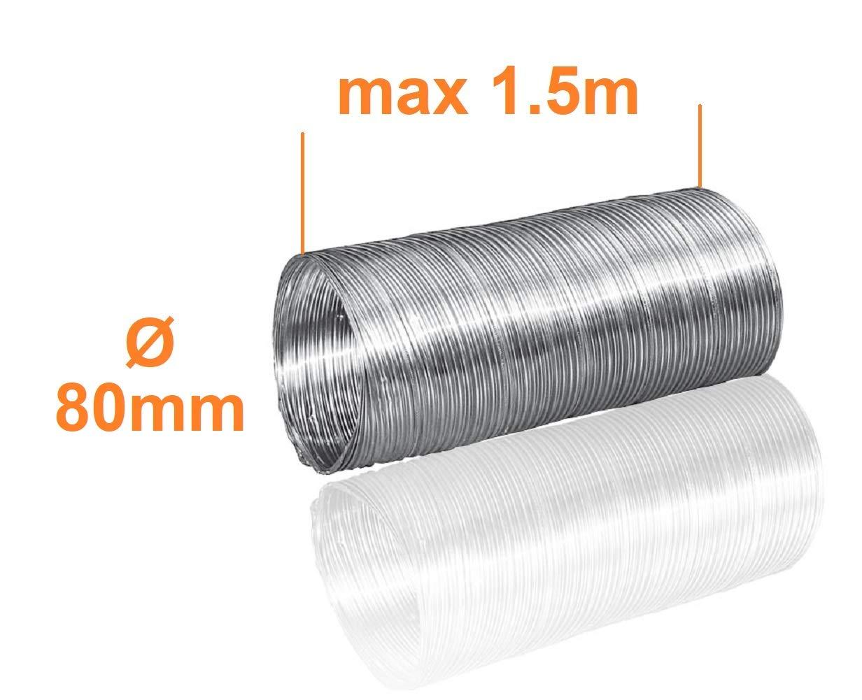 /Ø 80mm L/änge 1.5m Alu Flexrohr Alurohr Flexschlauch Schlauch Aluflexschlauch Flex-Schlauch L/üftungsrohr