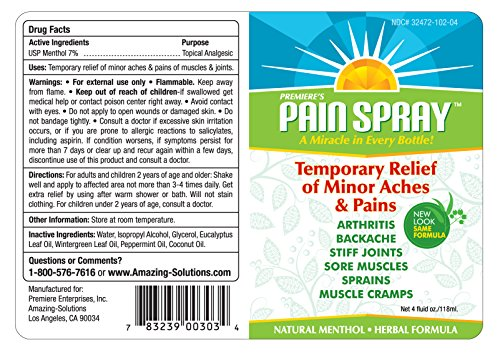 Premiere's Pain Spray Mist 12-Pack (Includes 3 Free Travel Bottles), Spray On Remedy for Sore Muscles, Herbal Medicine for Arthritis, Natural Treatment for Sore Neck and Shoulders by Premiere's Pain Spray (Image #1)
