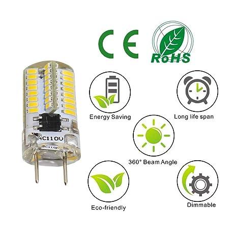reelco 6-Pack Mini G8 T4 Base Bi-Pin - Bombilla LED, 3 W, LED de intensidad regulable AC 110 V-120 V Blanco Cálido 2700 K-3000 K. Equivalente Bombilla ...