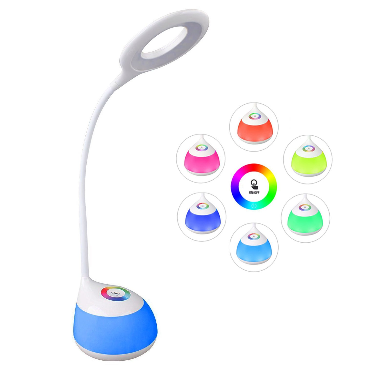 Study Desk Lamp, RGB Color Changing Nightlight, Touch Controlled, 256 Colors, 3-level Brightness Adjustment, USB Rechargeable, Led Eye-caring Mushroom Lamps