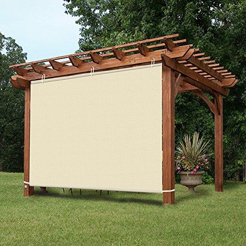 Pergola Wall Panels - Easy2Hang Waterproof 5x5ft Wheat Adjustable Side SunShade Panel Wall for Pergola, Patio, Window, Instant Canopy or Gazebo