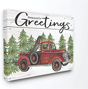 Stupell Industries Seasons Greetings Dog in a Red Truck on Planks Canvas Wall Art, 16 x 20, Multi-Color