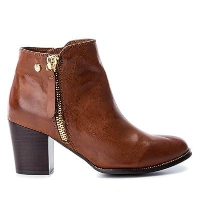 XTI Botín de Mujer con Tacon DE 7 cm con Cierre de Cremallera Cow Boy Camel: Amazon.es: Zapatos y complementos