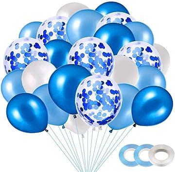 40 Piezas Globos Blancos, Globo Confeti, Globos de Fiesta, Globos de látex Blancos, Globos de Helio Perla, para Decoraciones de cumpleaños (Azul): Amazon.es: Juguetes y juegos