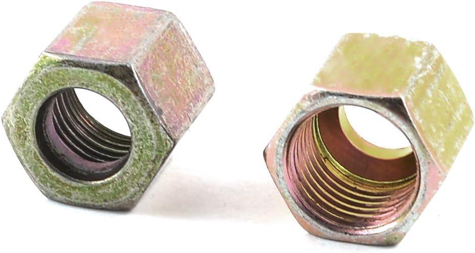 Aexit Metal 25//64 Nuts 10mm Inner Dia Thread Hex Head Screw Nut 11mm Height Panel Nuts 2 Pcs
