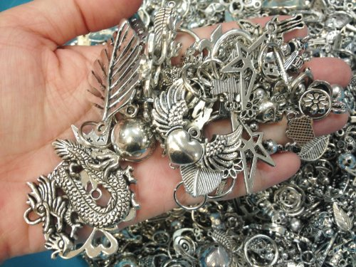 PEPPERLONELY Brand, 30pc Assorted Size Antiqued Silver Tone Charms, Bails, Jumprings, Cameo Bezel...