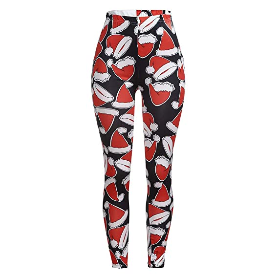 e39e1c3bbb Yvelands Para Mujer Estampado de Navidad Elástico Leggings Flacos Estampado  de Papá Noel Aprieta los Pantalones