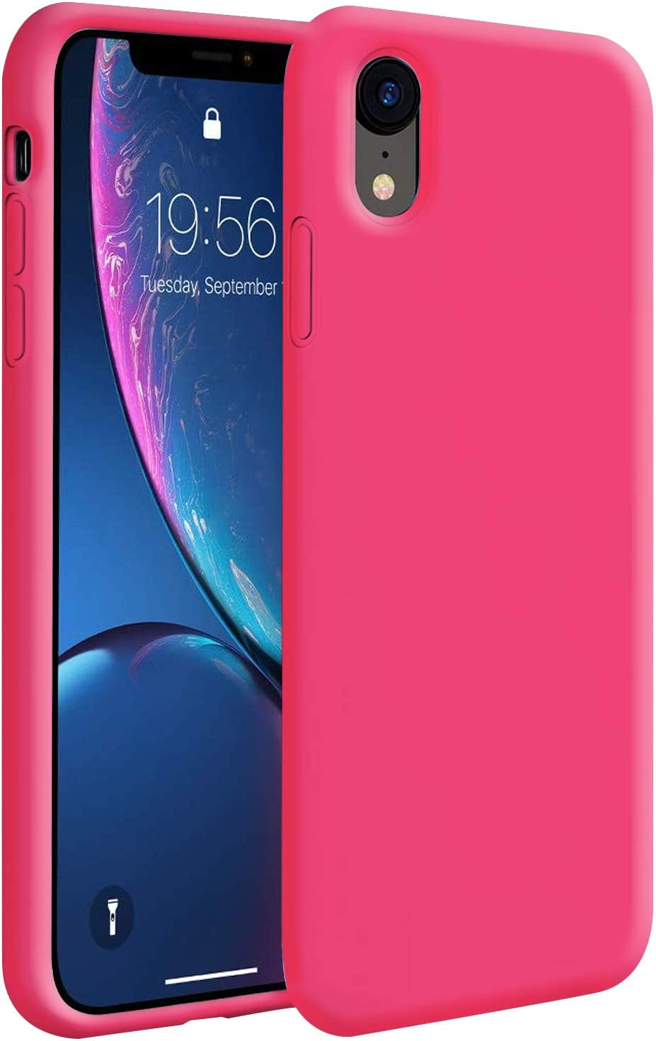 iPhone XR Case,Zuslab Soft Slim Thin Silicone Gel Rubber Bumper Cover for Apple iPhone XR Phone Hard Shell Shockproof Full-Body Protective Case - Hot Pink