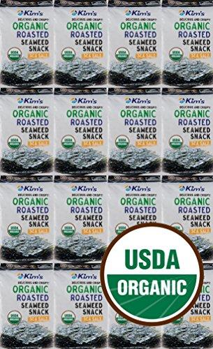 Kim's Premium Organic Seaweed (Nori) Snack 16 Pack. Roasted, Sea Salt, 100% USDA Certified, No MSG, Low Calorie