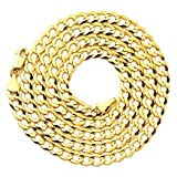 "LoveBling 10k Yellow Gold 5.5mm Plain Solid Curb Cuban Necklace W/Lobster Lock (18"" to 30"")"