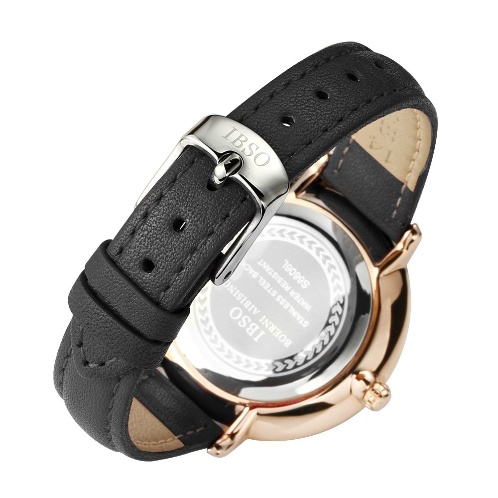 Women Simple Face Watches Leather Band Luxury Quartz Watches Girls Ladies Wristwatch Reloj De Mujer (Black) by IBSO BOERNI AIBISINO (Image #4)