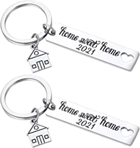 2PCS 2019 Home Sweet Home Key Chain Housewarming Presents, New Homeowner Keychain Closing Gift Ideas, Real Estate Gifts from Agent for Client Congratulations