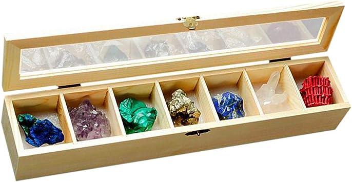 perfeclan Caja de 7 Minerales Colección de Rocas Geológicas Ciencias de Tierra Cuarzo: Amazon.es: Juguetes y juegos