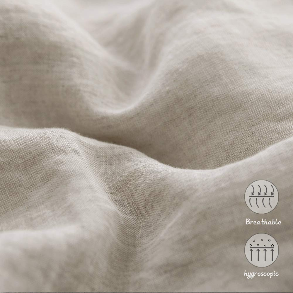 Simple&Opulence French Linen Duvet Cover Set 3PCS Solid Color Luxury Bedding Set (Twin, Linen) by Simple&Opulence (Image #4)