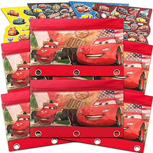 Disney Cars Party Favor Bags ~ Set of 6 Deluxe Cars Treat Bags Featuring Lightning McQueen with Disney Cars Stickers (Disney Cars Party Supplies)