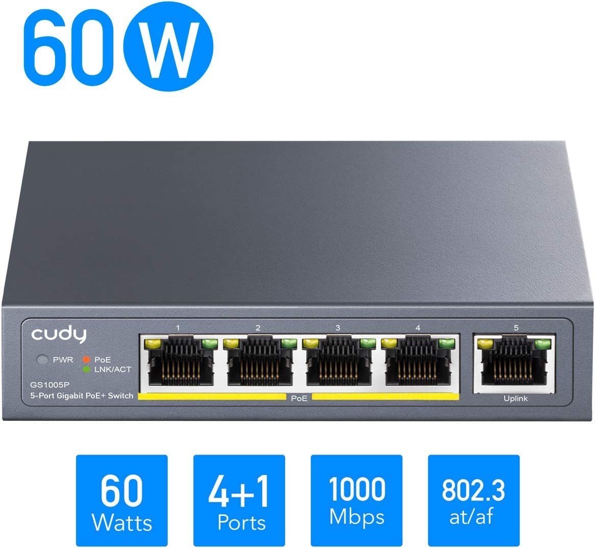 Cudy GS1005P Switch PoE+ 5 Puertos Gigabit Ethernet 10/100/1000 Mbps,60 W, 4 Puertos PoE+, 802.3af/at, Unmanaged Plug & Play