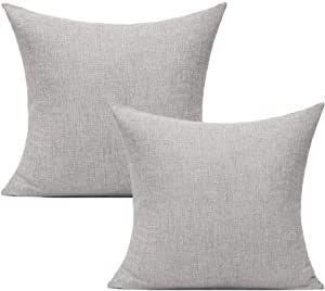 "Outdoor Patio Throw Pillow Covers for Porch Furniture Gray Pillowcases Square Solid Light Grey Cushion Burlap Accent Pillow Cases Couch Sofa Bed Sunbrella Decor 18""x18"" Set of 2"