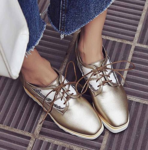 SHOWHOW Womens Stylish Solid Sequins Lace Up Square Toe Low Top Mid Heel Platform Sneakers Gold HAxWRPNAs