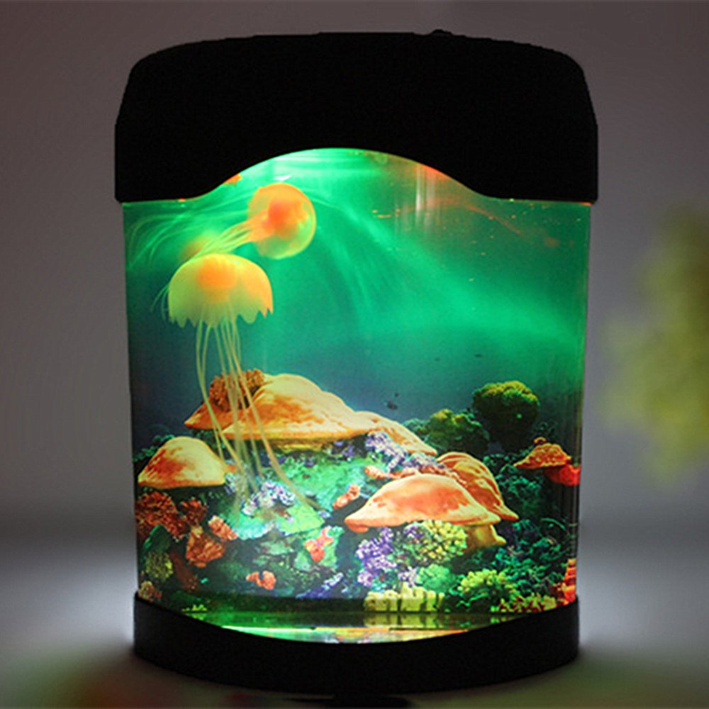 Aquarium Jellyfish NHSUNRAY Creative Simulation Decoration Brillante Artificial Colorido Relajante Mood Night Lamp Aplicar a sala de exposiciones ...