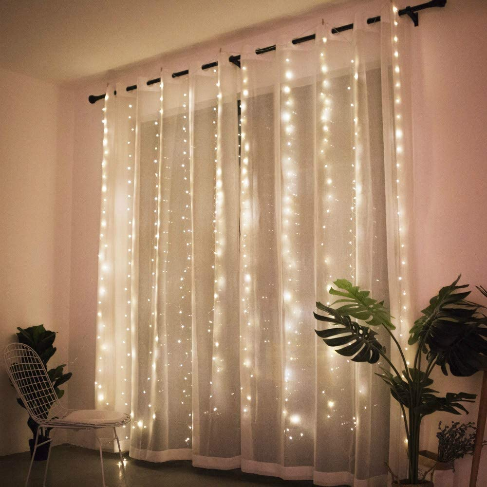 BANQLE Curtain Lights/String Light 300 LED 9.8Ft9.8Ft Fairy Lights with 8 Modes and Remote USB Powered Plug Garden Bedroom Outdoor Indoor Christmas Party(Warm White)