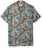 Casual Terrains Men's Classic-Fit Africa Inspired Camp Shirt Medium Blue.