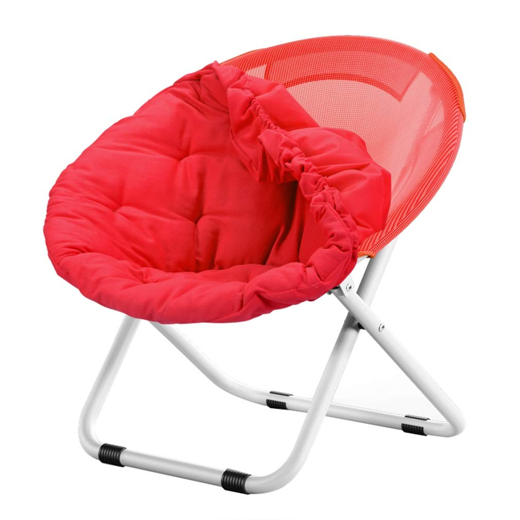 Red 80X52X76CM AGLZWY Folding Chair Multipurpose Adult Metal Frame Cotton Backrest Non-Slip Indoor Round Chair Sofa Chair Moon Chair  , 5 colors (color   Green, Size   80X52X76CM)