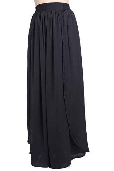 Q2 Mujer Falda larga negra drapeada - XS - Negro: Amazon.es: Ropa ...