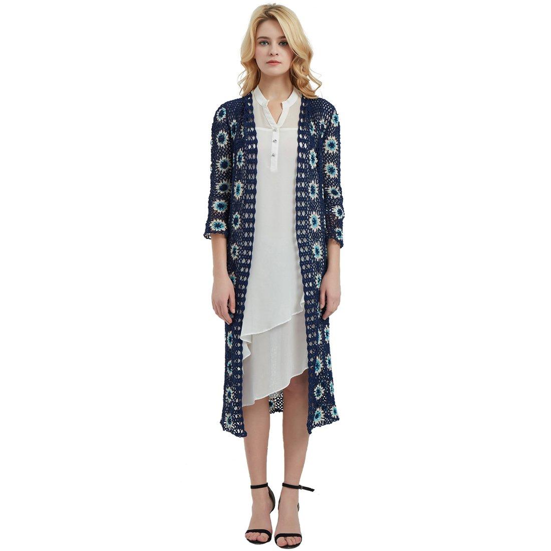 ZORJAR 100% Handmade Long Open Front Women's Crochet Cardigan Top