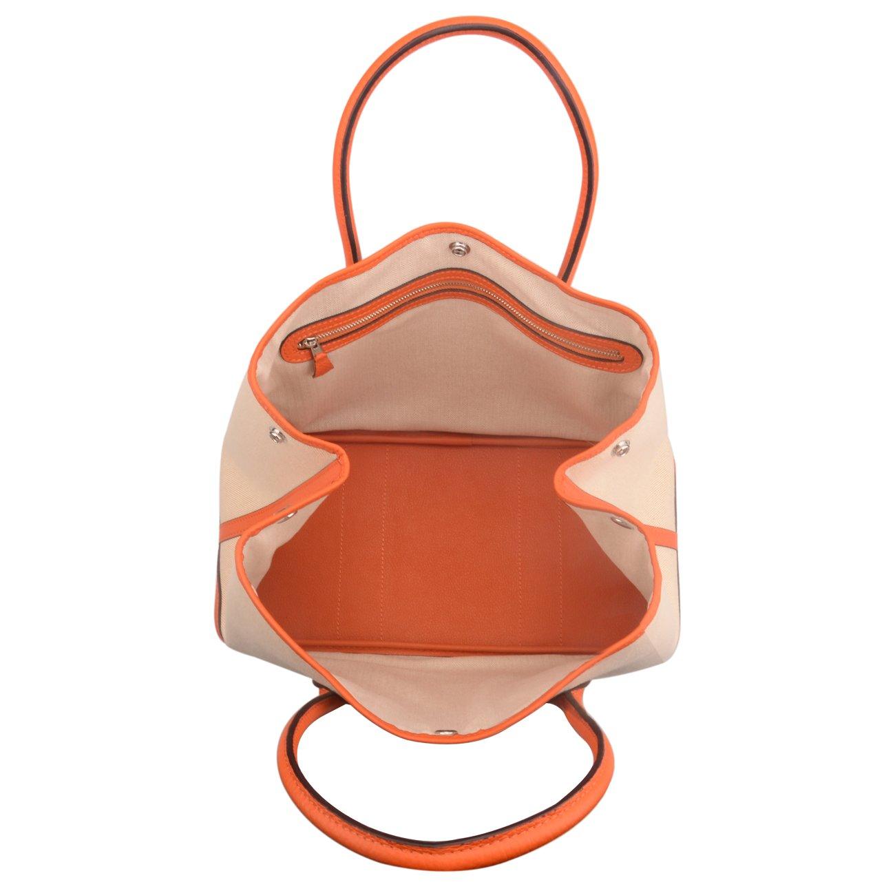Ainifeel Women's Genuine Leather Top Handle Handbag Shopping Bag Tote Bag (Orange(leather+canvas)) by Ainifeel (Image #6)