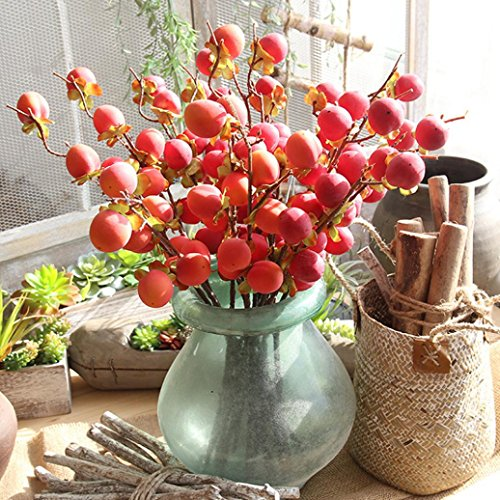 (Vovomay Fake Artificial Rose Fruit Peach Berries Bouquet Floral Berry Garden Home Decor (red))