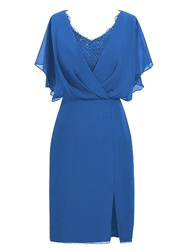 ModeC Knee Length Short Sleeve Chiffon Mother of the Bride Dress