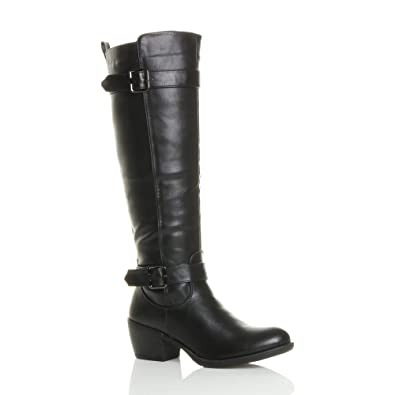 2420e88445cbe Ajvani Womens ladies mid block heel zip buckle strap biker calf knee boots  size 3 36
