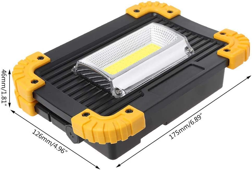 Projecteur LED Rechargeable Portable COB Lampe de Travail 1500lm 20W /Étanche Pour Chantier Garage Bricolage Travaux Activit/és Ext/érieures batterie incluse